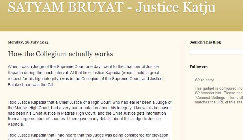 Justice Balakrishnan was adamant on Elevating P.D. Dinakaran, informed Justice Kapadia: Katju's facebook expose again