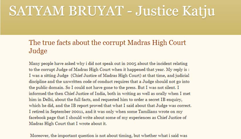 Lahoti denies communication about corrupt Judge; 2007 judgment raises questions over Katju's involvement in appointment of allegedly 'corrupt' Judge