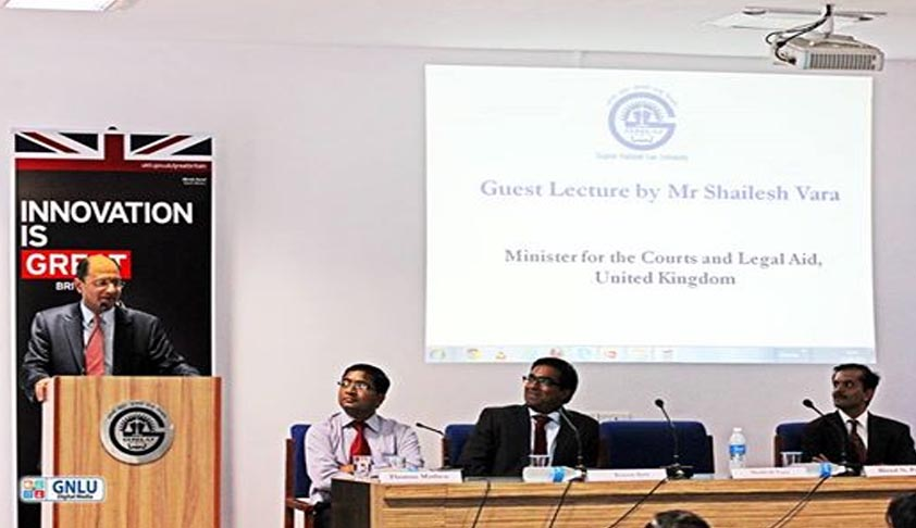 UK Minister for Courts addresses GNLU Students