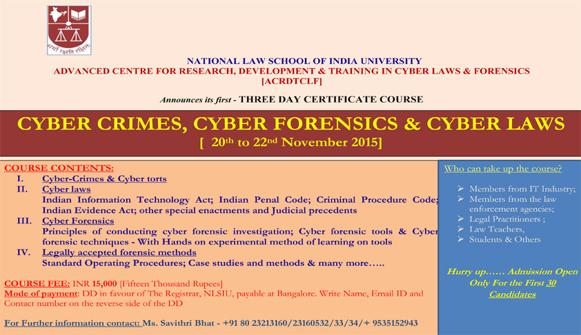 Three Day Certificate Course on Cyber Crimes, Cyber Forensics & Cyber Laws