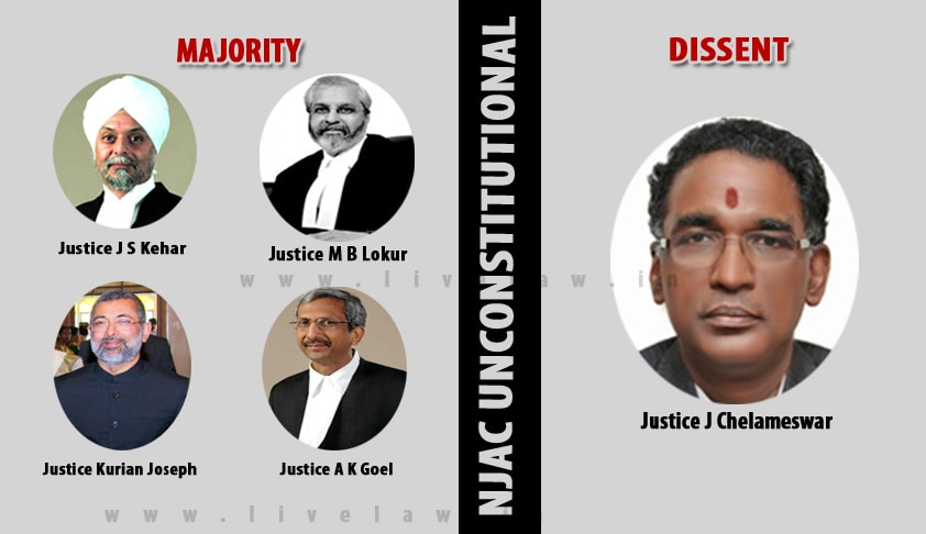 #NJAC Unconstitutional ; Constitution Bench [4;1] [Read Judgment] [Updated]