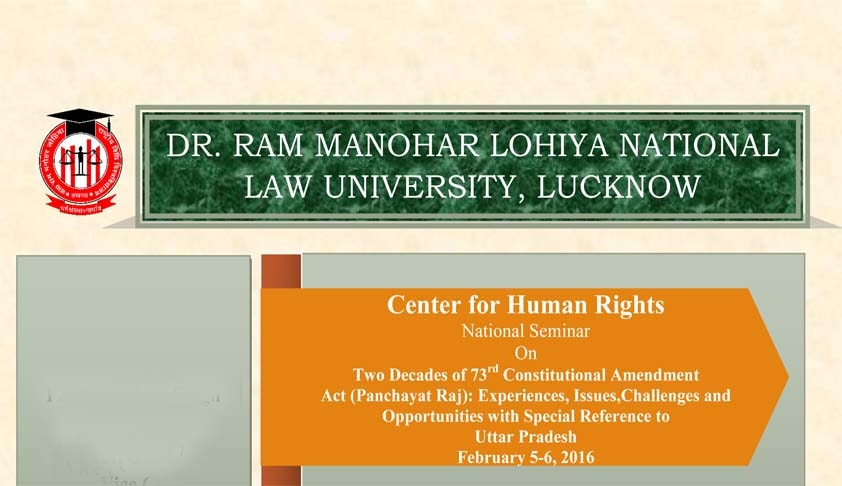 "National seminar on ""Two Decades of 73rd Constitutional Amendment Act (Panchayat Raj)"