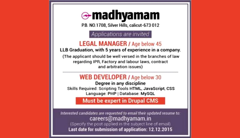 Legal Manager Vacancy at Madhyamam