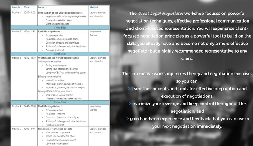 Negotiation Workshop by Dr. Claudia Winkler , LL.M. (Harvard)