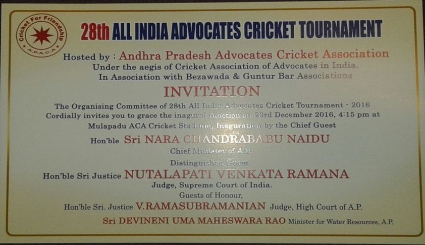Invitation For Corporate Cricket Tournament: 28th All India Advocates Cricket Tournament