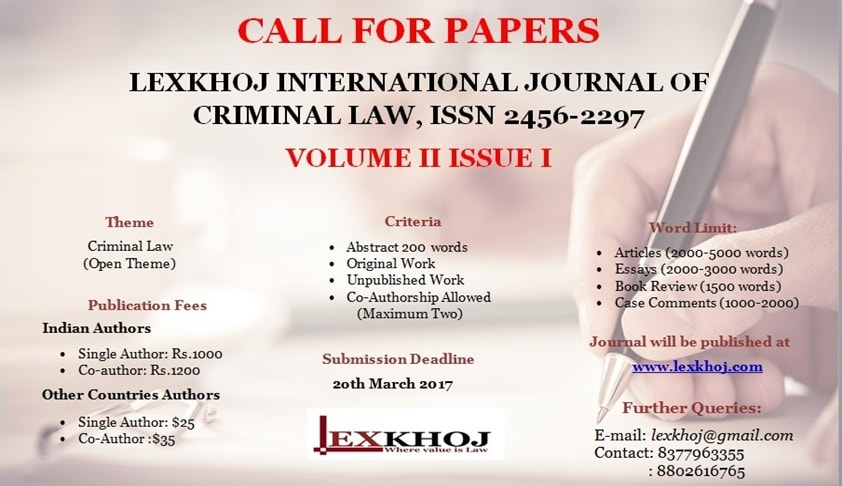 Call for Papers:  Lexkhoj International Journal of Criminal Law