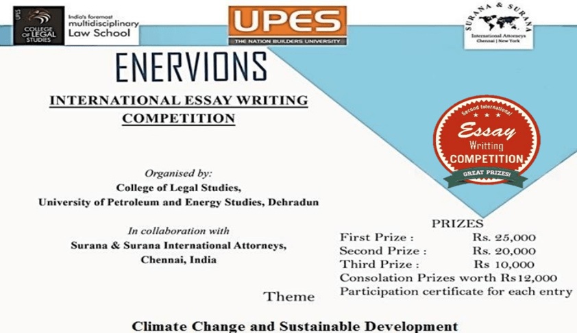 UPES 2nd Enervions International Essay Writing Competition-2017