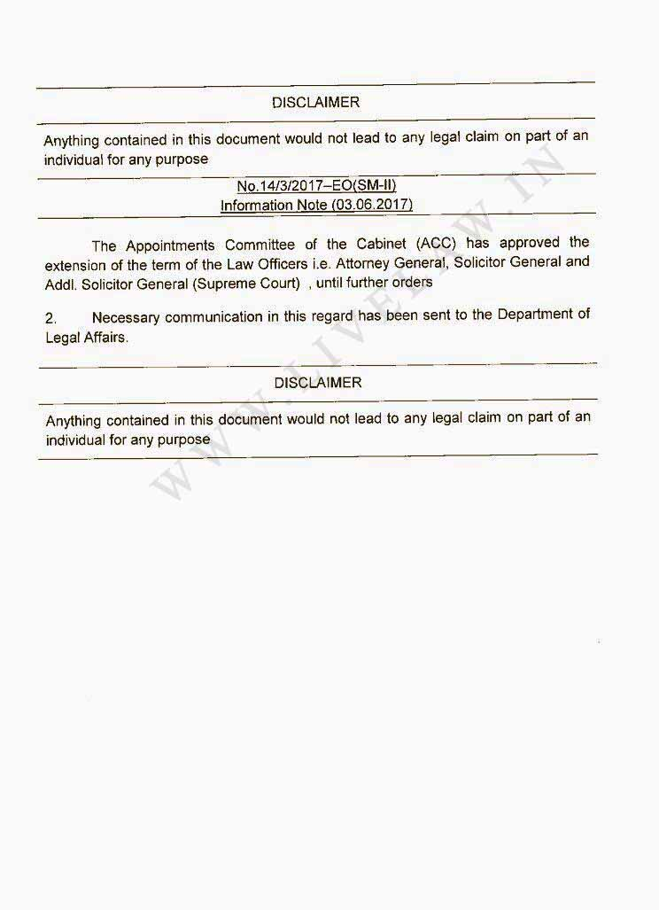 Breaking: Govt. Extends The Term Of AG Mukul Rohatgi, SG Ranjit Kumar And ASGs