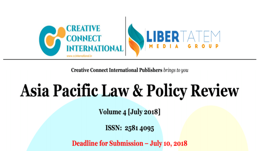 Call For Papers: Asia Pacific Law & Policy Review (Annual Vol. 4), Submit by July 10