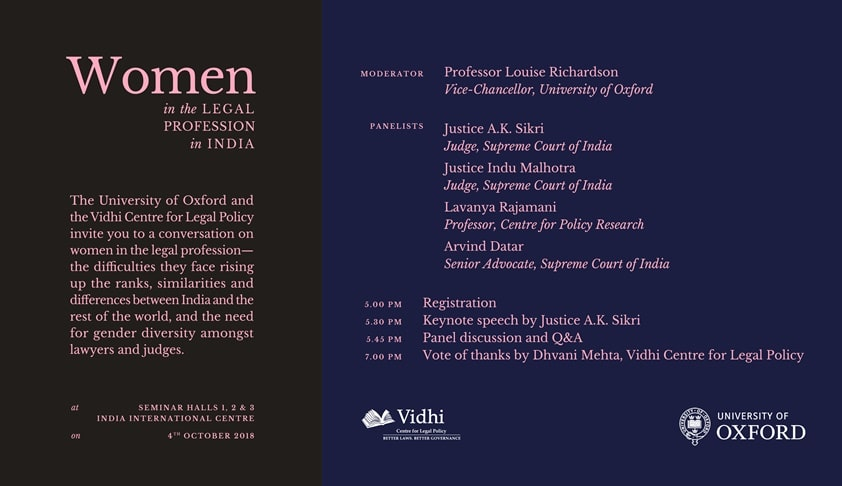 Vidhi& Oxford's Panel Discussion On Women In The Legal Profession [4th Oct; New Delhi]