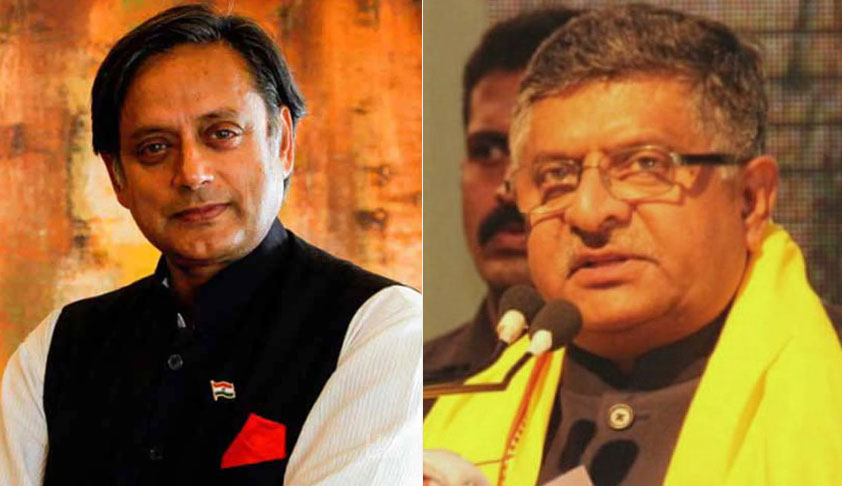 "Shashi Tharoor Issues Legal Notice Against Law Minister Ravi Shankar Prasad For Calling Him ""Murder Accused"" [Read Notice]"