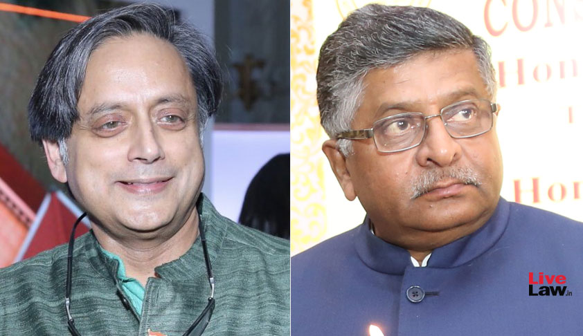 "Shashi Tharoor Files Criminal Defamation Case Against Ravi Shankar Prasad For Calling Him ""Murder Accused"""
