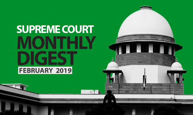Supreme Court Monthly Digest February 2019