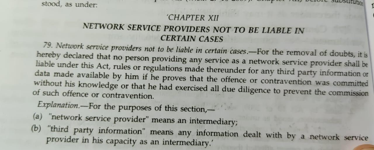 Sec 79 IT Act (before 2009 Amendment)