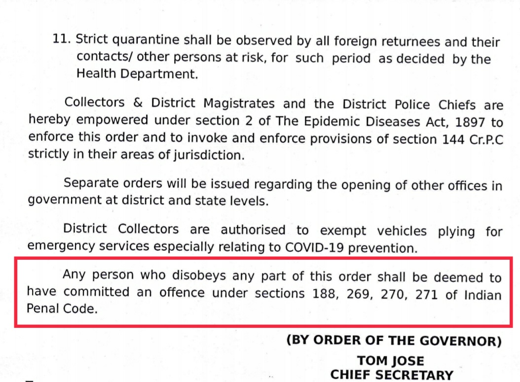 Extract from the lockdown order imposed in Kerala