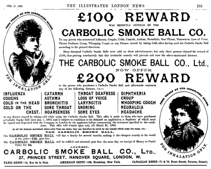 Carlill v Carbolic Smoke Ball Co : A Landmark Decision Which Came Amid An Epidemic