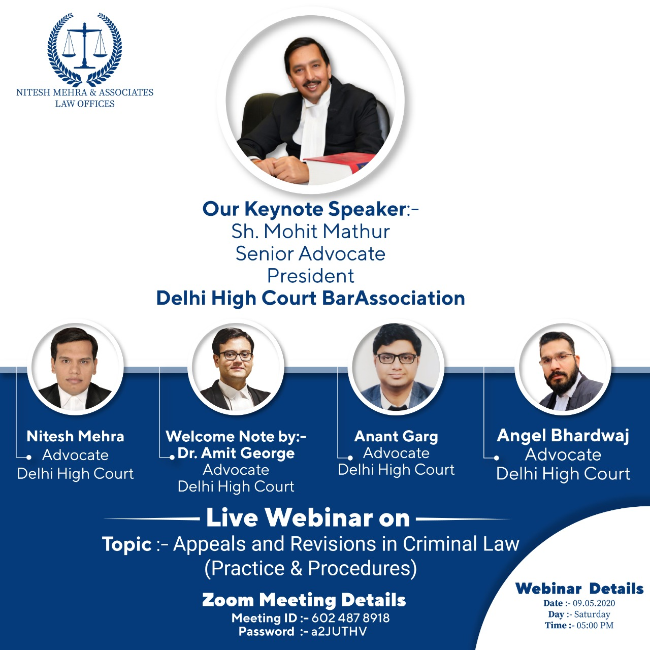 Mohit Mathur, President DHCBA To Address In Webinar On Appeals And Revisions In Criminal Law (9th May)