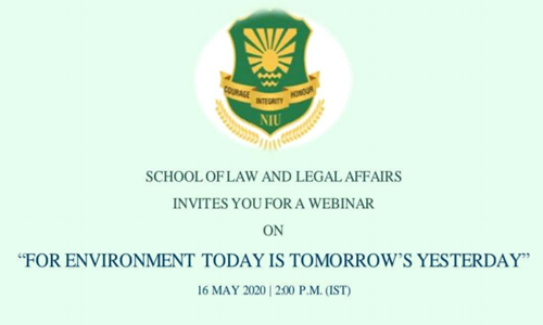 Webinar On Environment Today Is Tomorrows Yesterday By The Noida International University