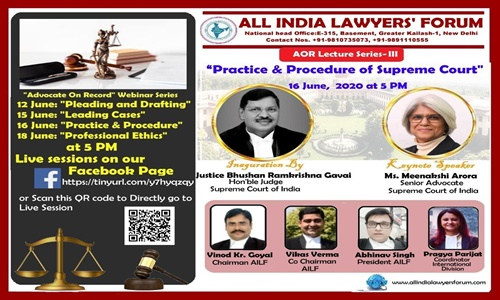 AILF AOR Lecture Series III: Supreme Court Practice & Procedure [16th June]