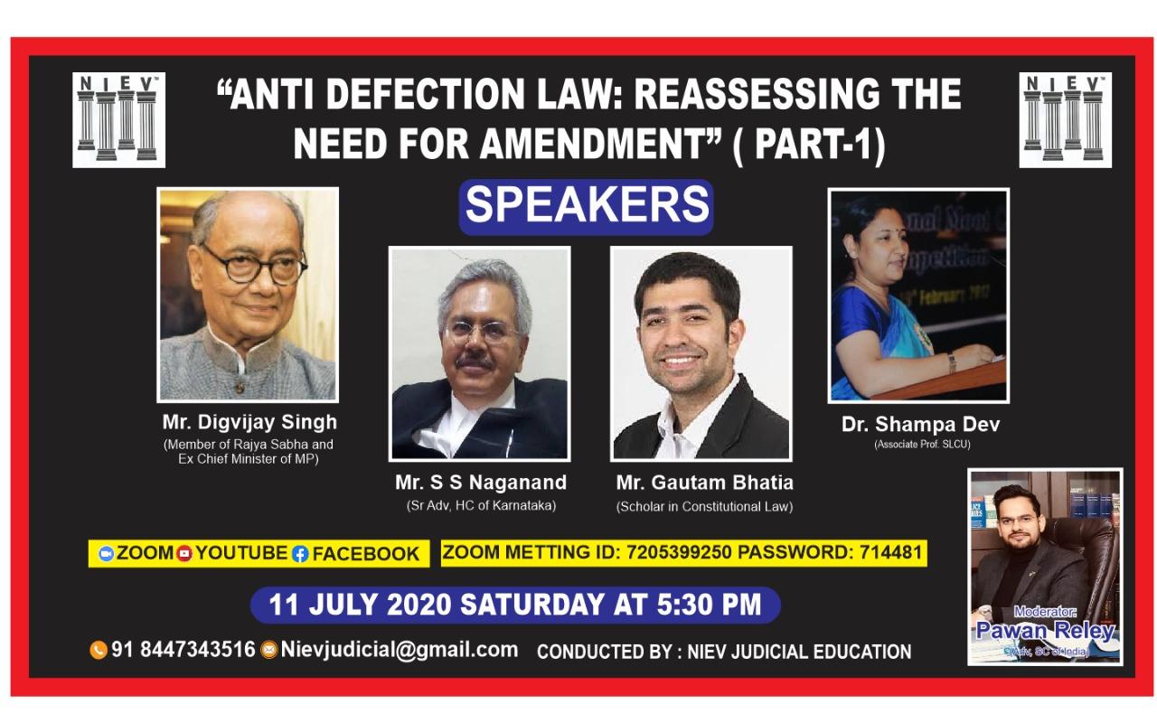 NIEV (Series Of Webinar): Anti-Defection Law [11th July]