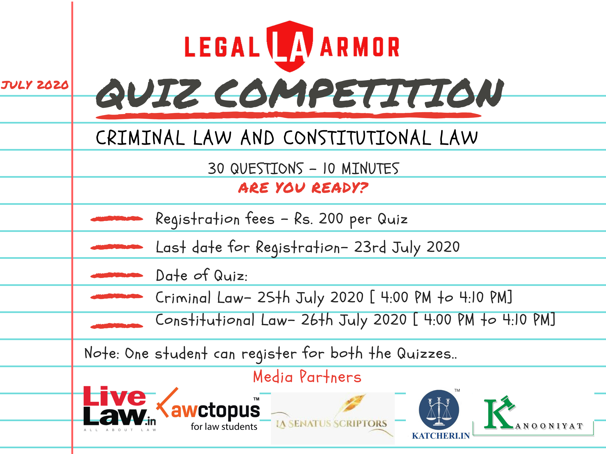 Legal Armors Online Quiz Competition: Constitutional & Criminal Laws