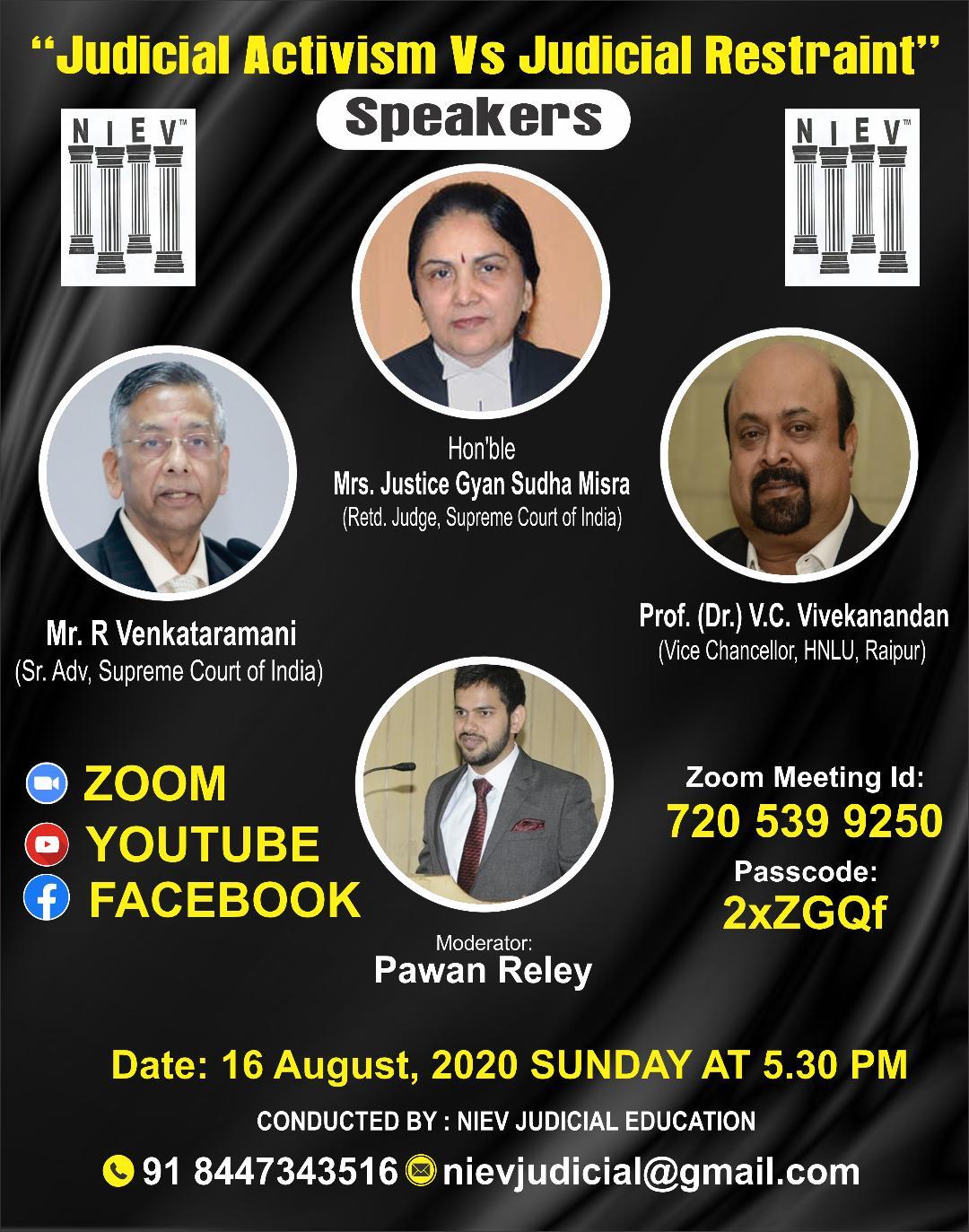 NIEV Webinar Series: Judicial Activism Versus Judicial Restraint [16th Aug]