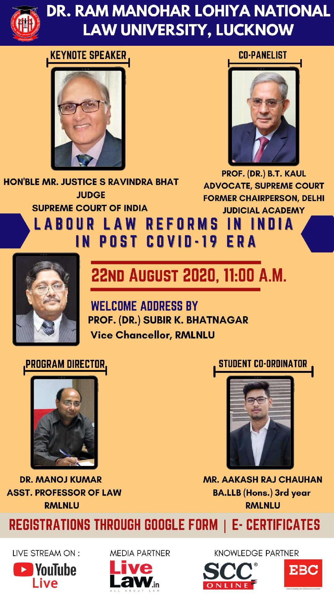 RMLNLU Webinar: Labour Law Reforms Post Covid-19 [22nd Aug]