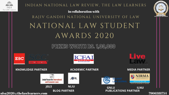 Indian National Law Review And RGNULs National Law Student Awards 2020