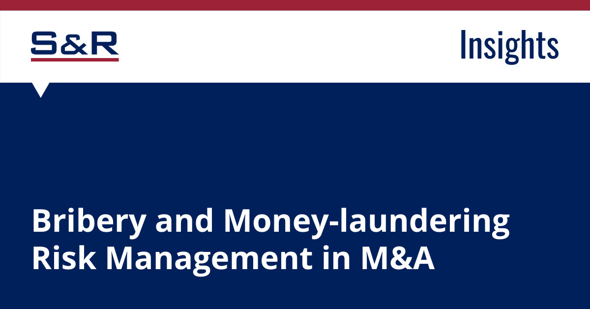 Bribery and Money-laundering Risk Management In M&A