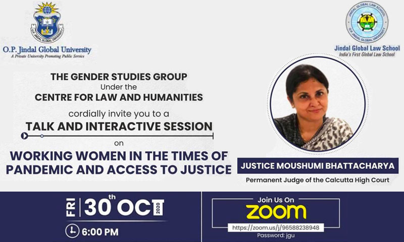 JGLS Interactive Session By HMJ Moushumi Bhattacharya: Women & Access To Justice During Pandemic [30th Oct]