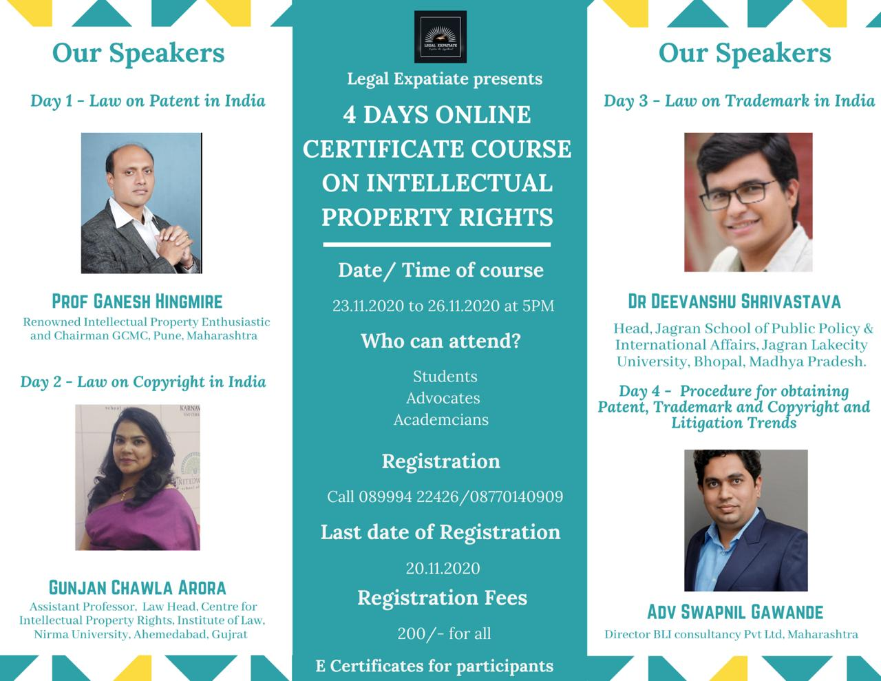 4 Days Online Certificate Course On Intellectual Property Rights From 23.11.2020 To 26.11.2020 At 5PM