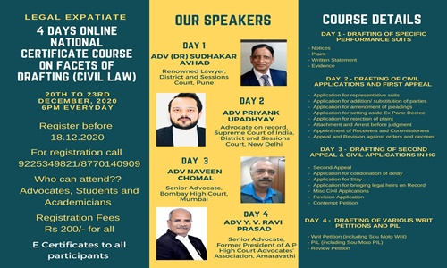 4 Days Online Certificate Course On Facets Of Drafting (Civil Law)
