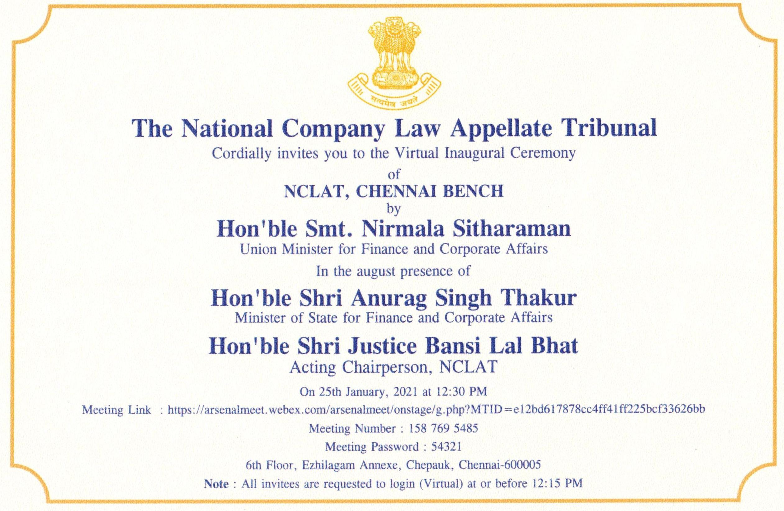 Inauguration Of NCLAT, Chennai Bench By Union Minister Smt. Nirmala Sitharaman [25th January 2021]
