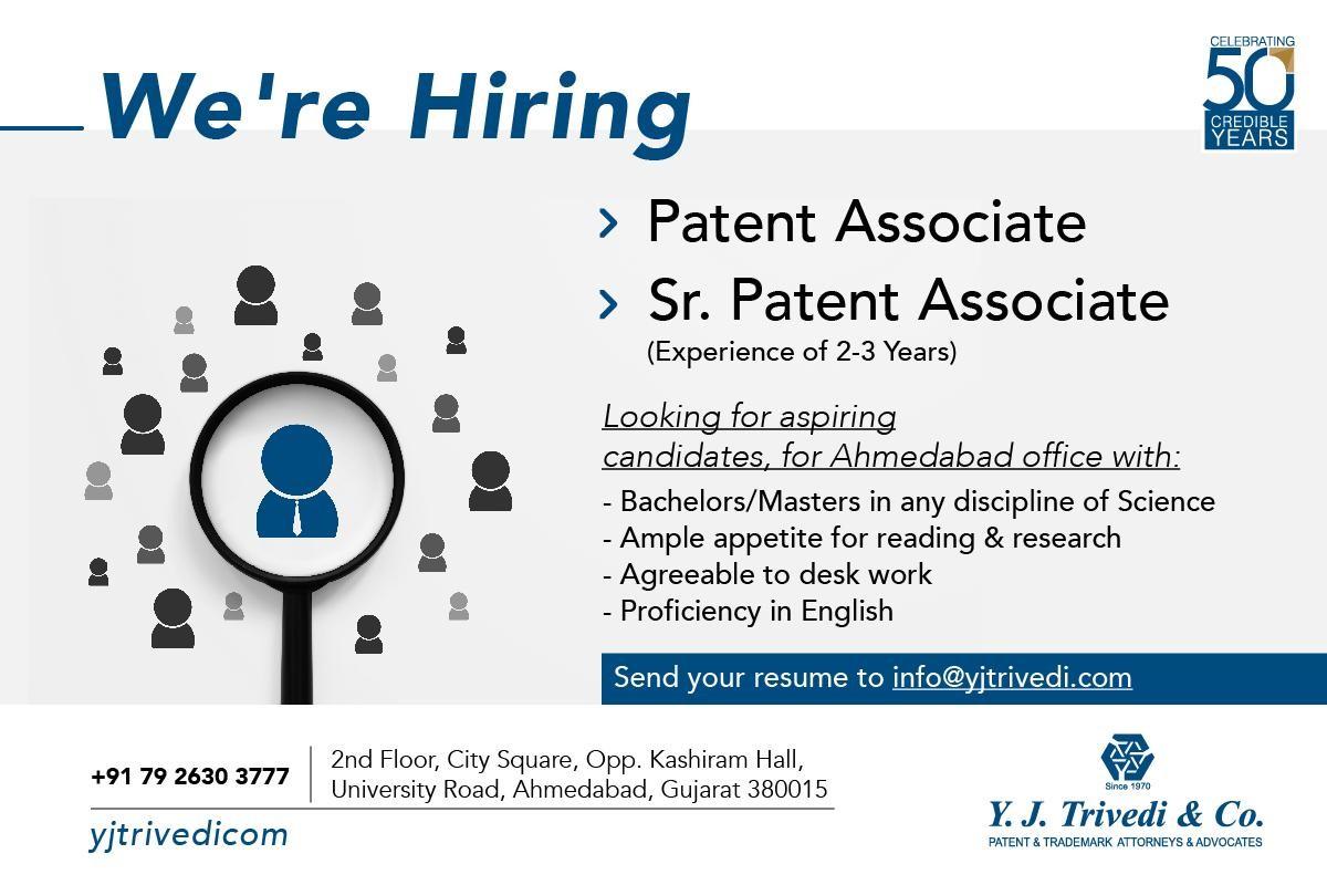 Senior Patent Associate And Patent Associate Vacancy At Y J Trivedi & Co
