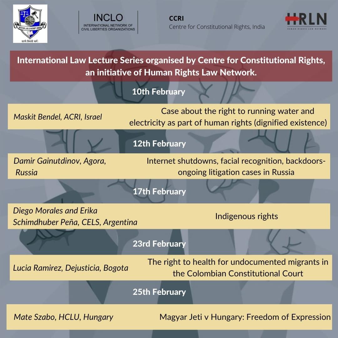 CCRI, HRLNs: International Law Lecture Series