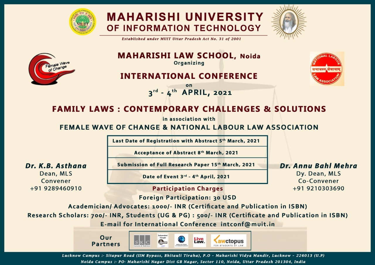 International Conference On Family Laws: Contemporary Challenges And Solutions [Registrations Open]