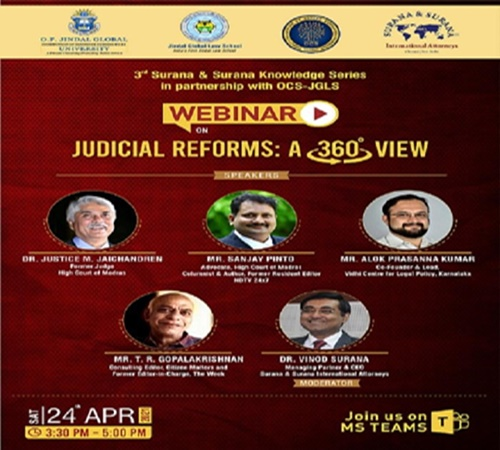 3rd Edition Of The Surana & Surana Knowledge Series On Judicial Reforms: A 360 Degree View [Tomorrow, 3:30 PM]