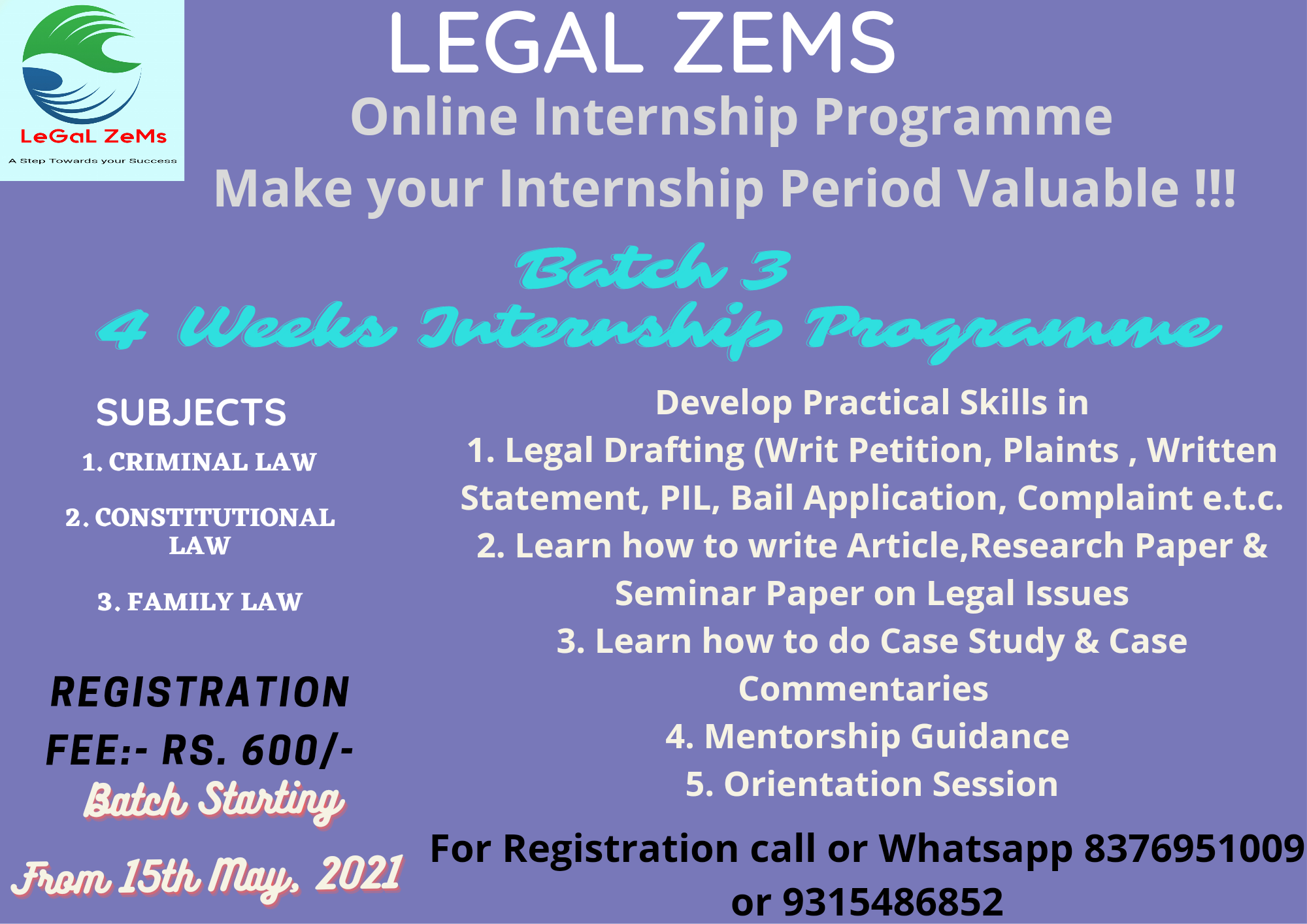 Legal Zems Online Internship Programme 2021 [15th May to 15th June 2021]