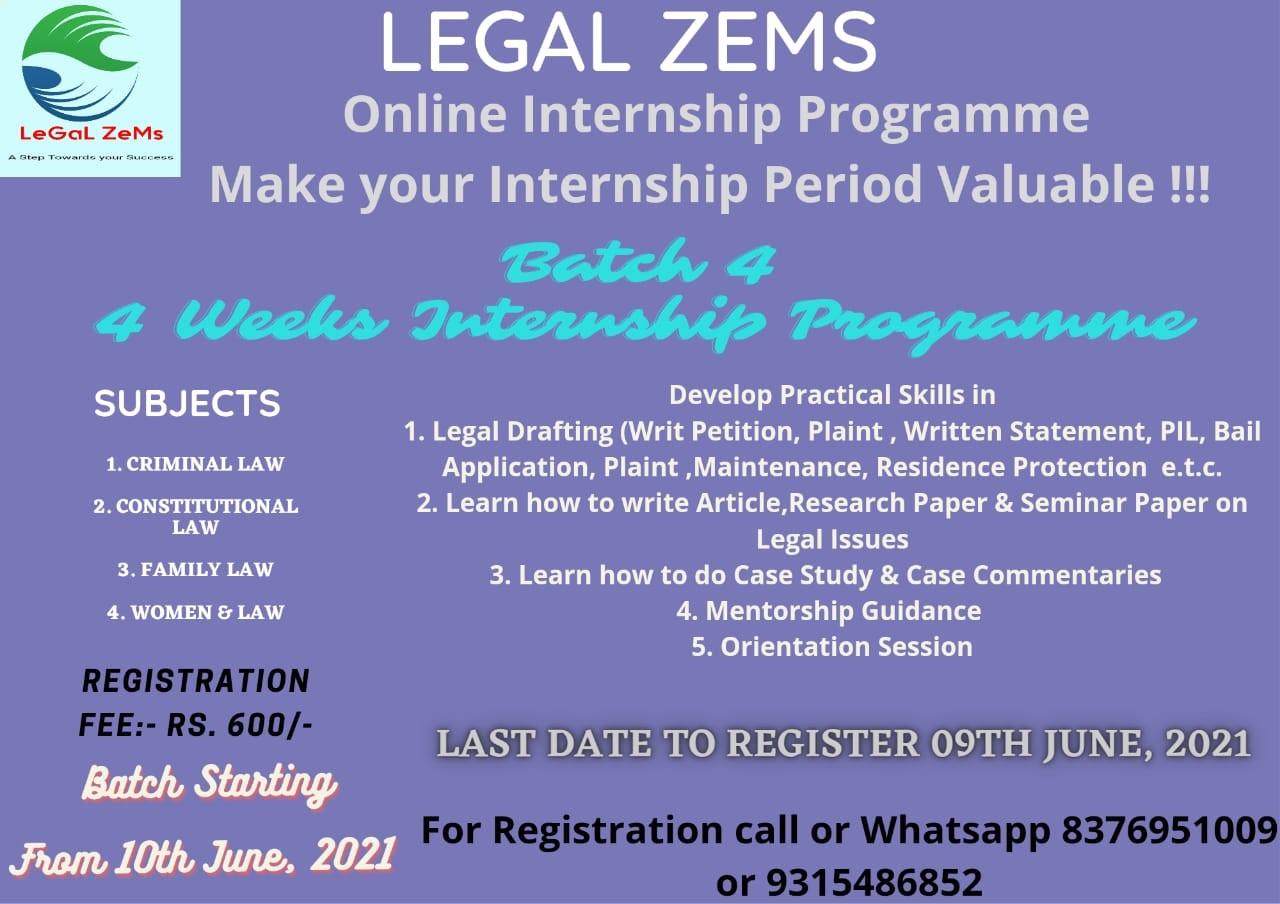 Legal Zems Online Internship Programme 2021 [Register By 9th June 2021]