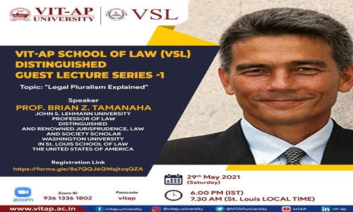 VIT-AP School Of Law: Distinguished Guest Lecture Series - 1 [29th May 2021]