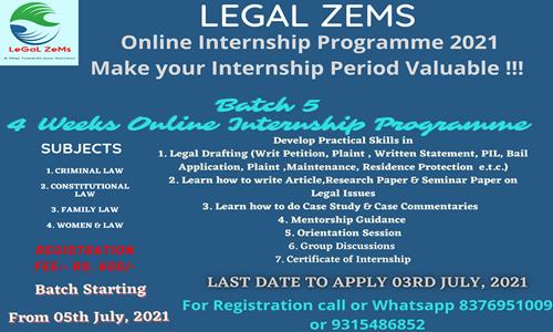 Legal Zems Online Internship Programme  [Apply by 3rd July 2021]