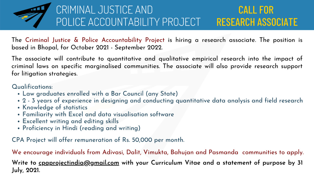 CPA Project - Research Associate Vacancy