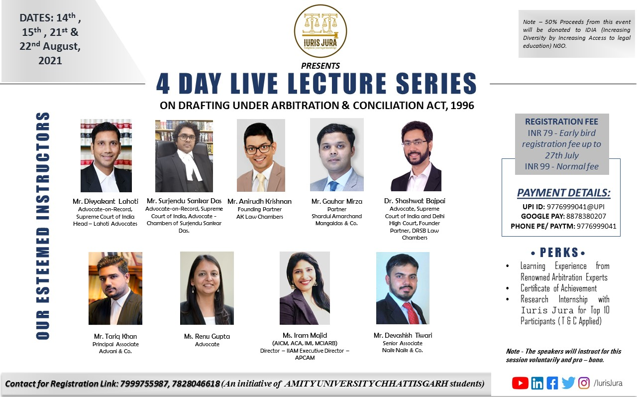 Iuris Jura: 4 – Day Live Lecture Series On Drafting Under Arbitration & Conciliation Act, 1996