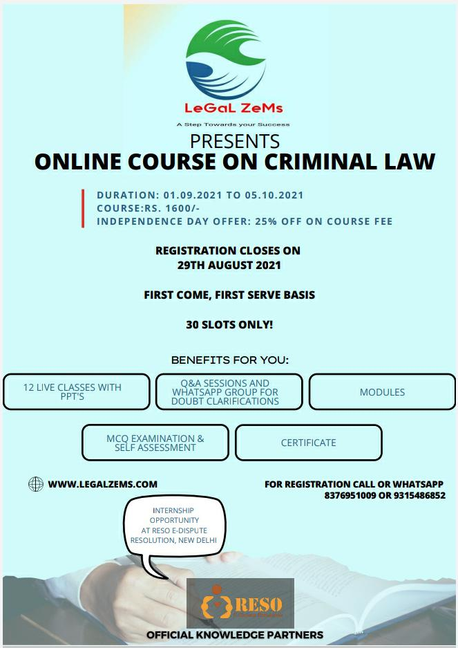 Online Course On Criminal Law By Legal Zems [Register By 29th August 2021]