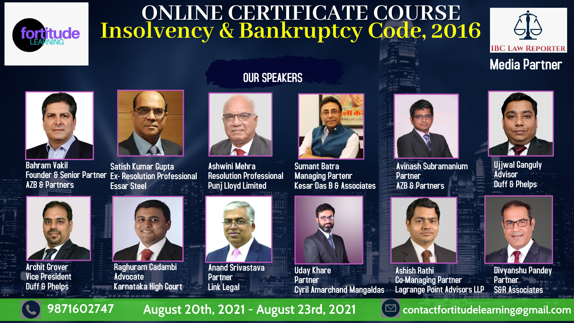 4 Days Online Certificate Course On The Insolvency And Bankruptcy Code, 2016 By Fortitude Learning [August 20th -August 23rd, 2021]