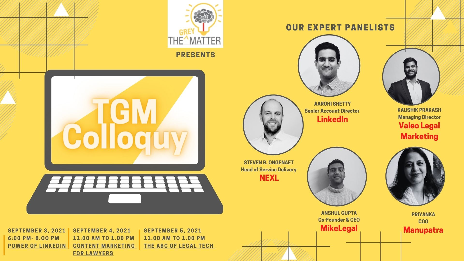 The TGM Colloquy [September 3rd- 5th, 2021]