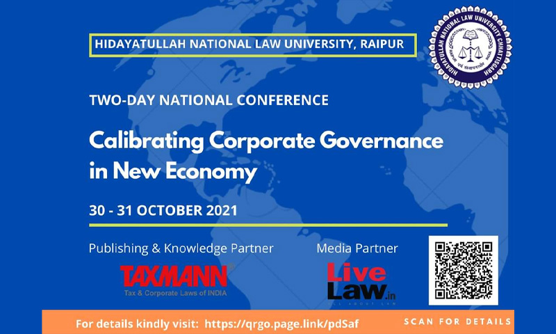 HNLU Raipur: National Conference on Calibrating Corporate Governance in New Economy [30-31 October 2021]