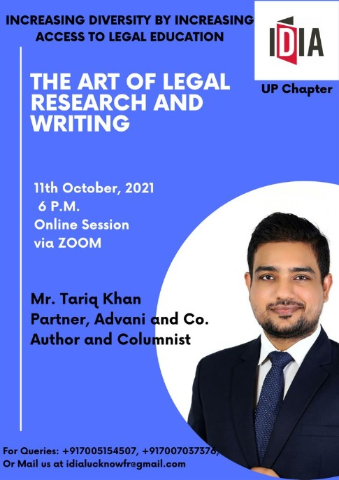 IDIA UP Chapter: Online Session On The Art Of Legal Research And Writing [11th October 2021]